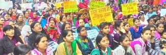 More than 1000 women's organisations and individuals gathered at Jantar Mantar in New Delhi to demand the passage of the Women's Reservation Bill in the Parliament.